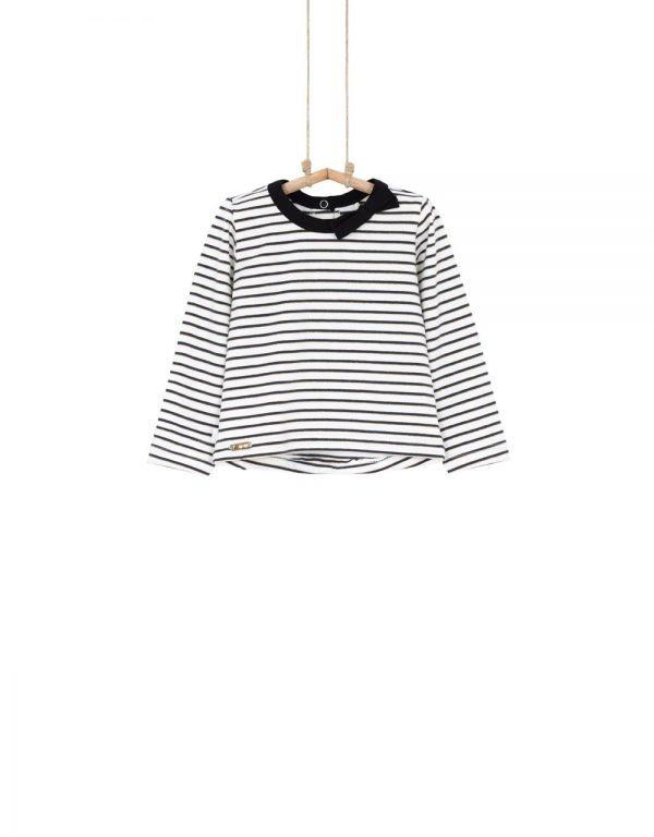 Dievčenské tričko Pruga Bebakids s čierno-zlatými pásikmi