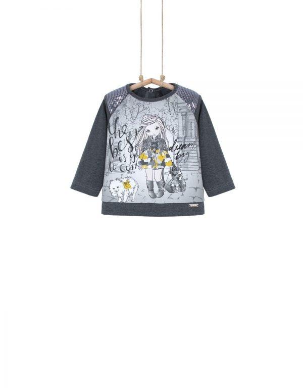 Sivé tričko s aplikáciou a flitrami Bebakids