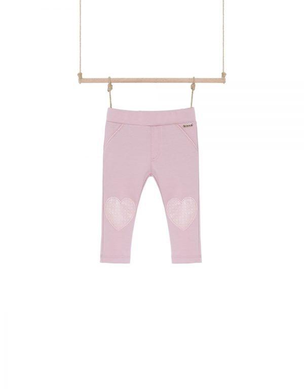 Ružové nohavice so srdiečkami na kolenách