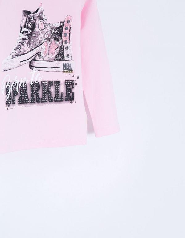 Ružové tričko s teniskami BORN TO SPARKLE Bebakids