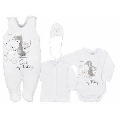 dojčenská súprava bavalnená biela 4-dielna Bobas Fashion Teddy