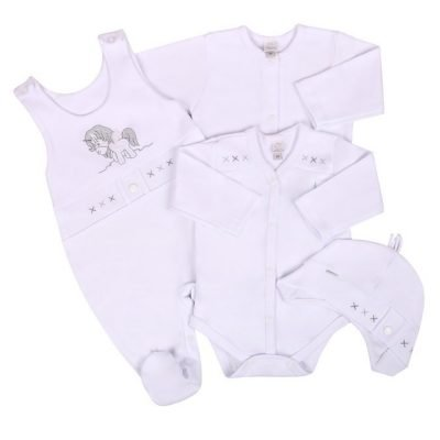 4-dielna dojčenská súprava bavlnená Koala Pony biela