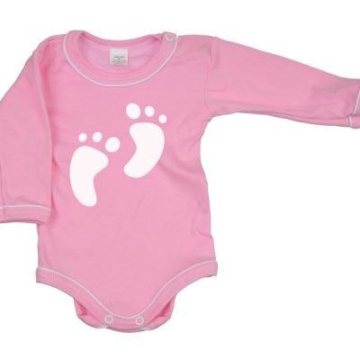 bavlnené body dlhý rukáv Antony  Feet ružové