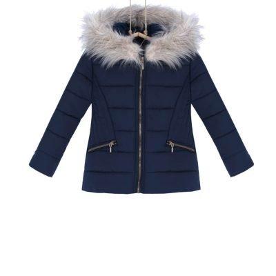 presivana zimná bunda s kapucnou dievcenska modra Bebakids