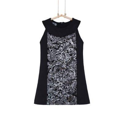 Čierne dievčenské šaty s flitrami Bebakids