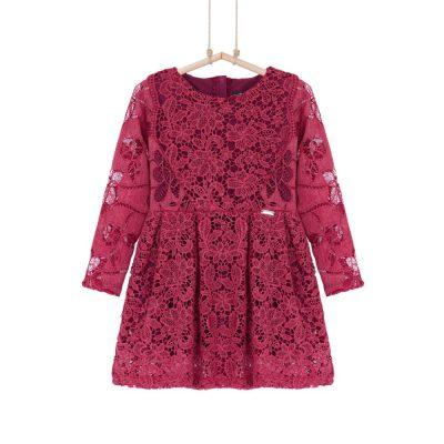 spoločenské dievčenské šaty červené krajkové