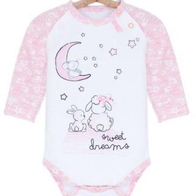 Dojčenské body ružové Sweet Dreams, 56, 62, 74 Bebakids