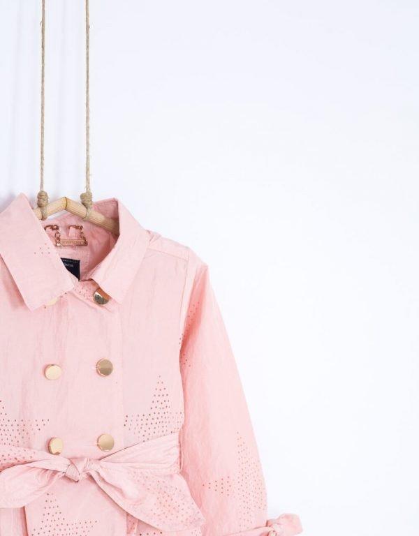 trenčkot dievčenský ružový