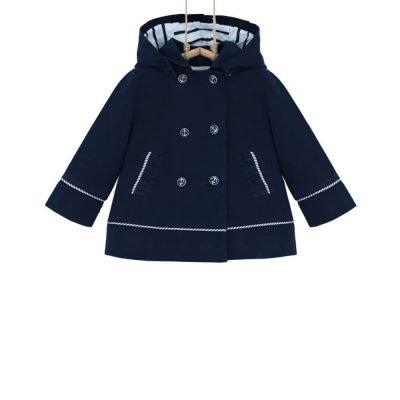 Dievčenský podšitý kabátik tmavomodrý