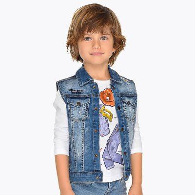 Chlapčenská vesta rifľová MAYORAL