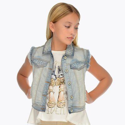 Dievčenská vesta rifľová MAYORAL