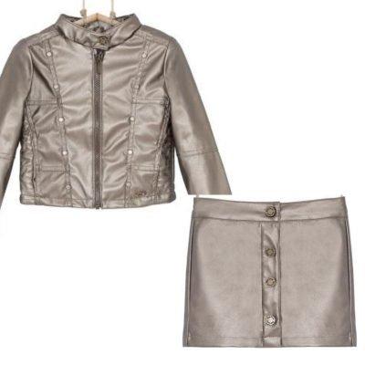 dievčenská bunda metalická