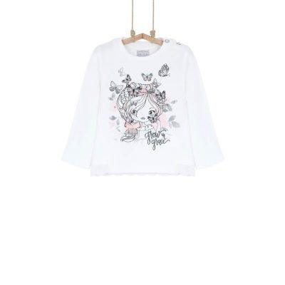 tričko s dlhým rukávom bavlnené dievčenské Bebakids