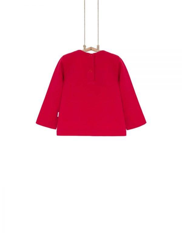 dievčenské tričko s dlhým rukávom červené