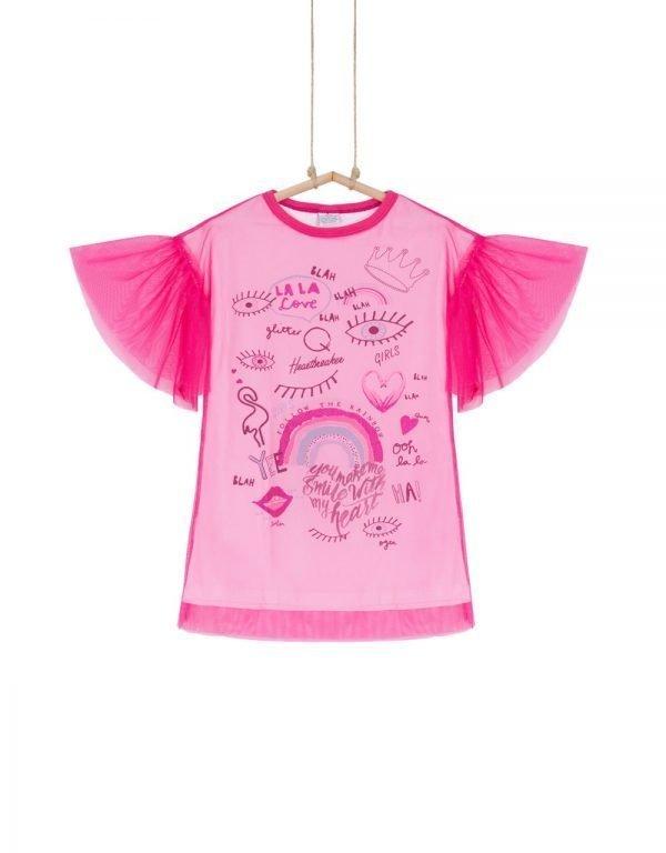 ružové tričko s volánom