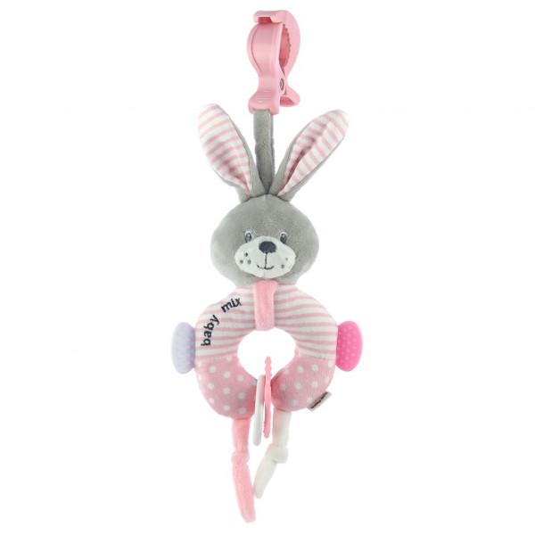 Edukačná plyšová hračka s klipom Baby Mix králik ružový
