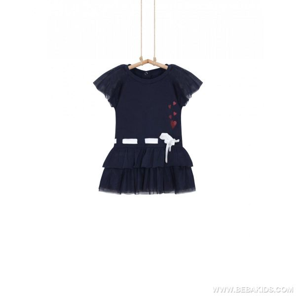 Dievčenské šaty s krátkym rukávom modré