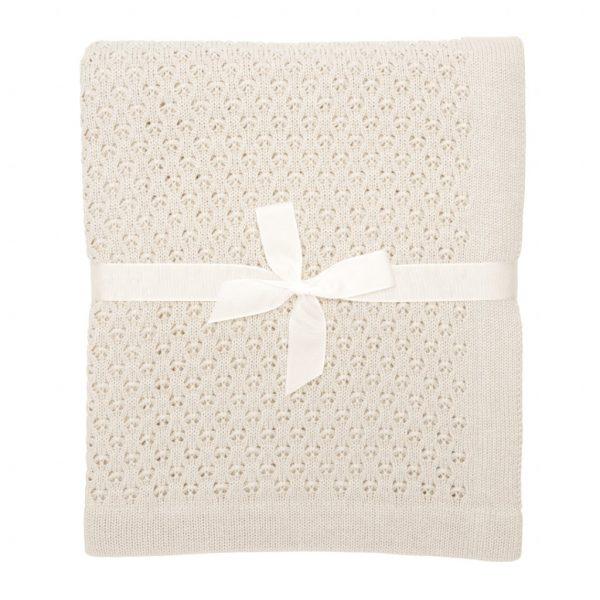 pletená detská deka smotanová