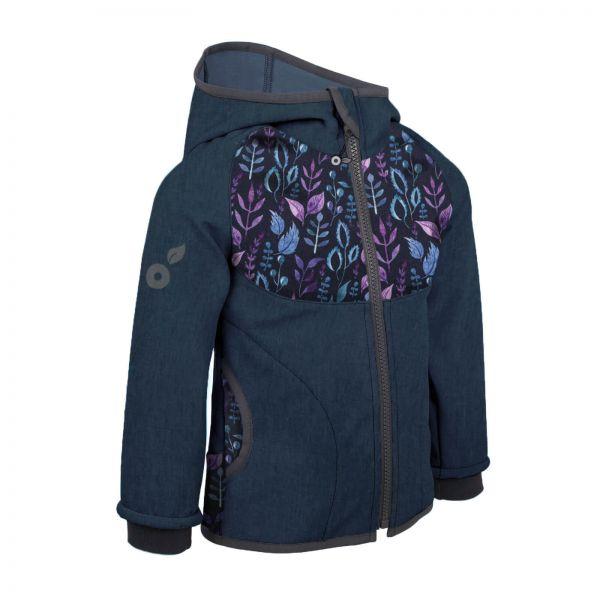 Unuo detská softshellová bunda s fleecom Žíhaná tmavomodrá Lístočky
