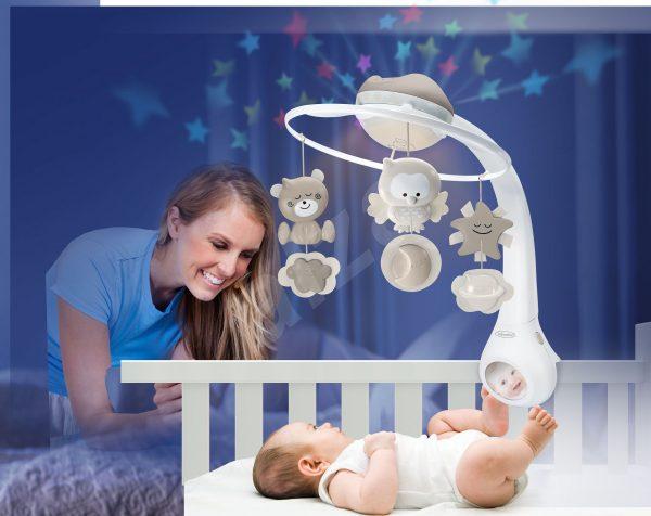 kolotoč s projektorom Infantino béžový