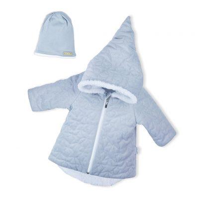 Zimný dojčenský kabátik s čiapočkou Nicol VELVET sivý