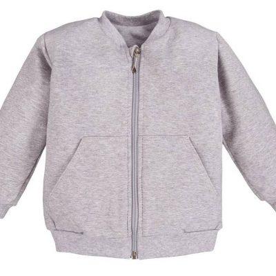 detská mikina na zips sivá