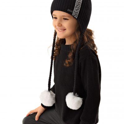 Dievčenská zimná čiapka BETA čierna