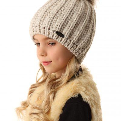 Dievčenská zimná čiapka béžová