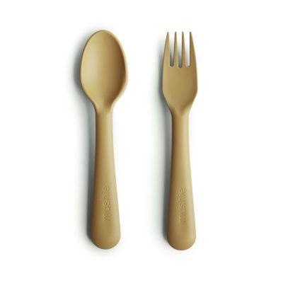 Mushie detský príbor - lyžička a vidlička Mustard