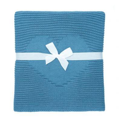 Detská pletená deka Love - oceľovo modrá