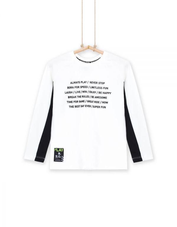 Chlapčenské tričko s dlhým rukávom biele