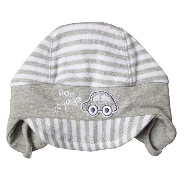 Dojčenská čiapka so šiltom BON VOYAGE Richelieu sivobiela