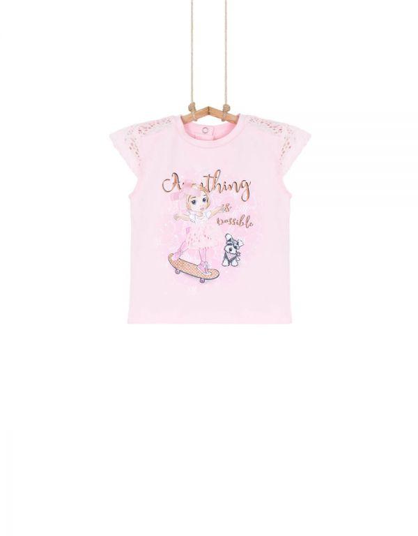 Dievčenské tričko s krátkym rukávom RUŽICA