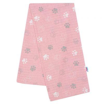 Bavlnená plienka s potlačou ružová tlapka
