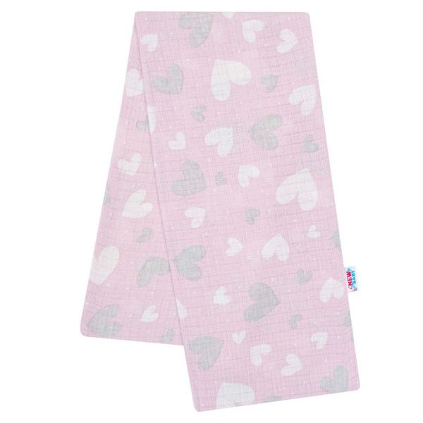 Bavlnená plienka s potlačou ružová srdiečka