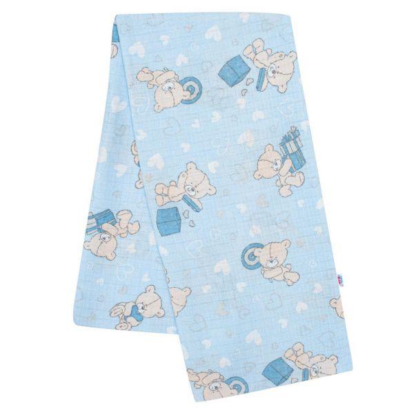 Bavlnená plienka s potlačou modrá medvedík a srdiečko