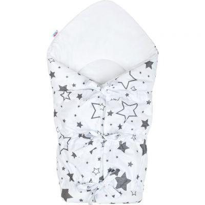 Klasická šnurovacia zavinovačka biela hviezdy sivé