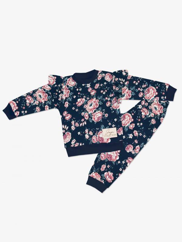 Dievčenské pyžamo Japitex Roses volán modré
