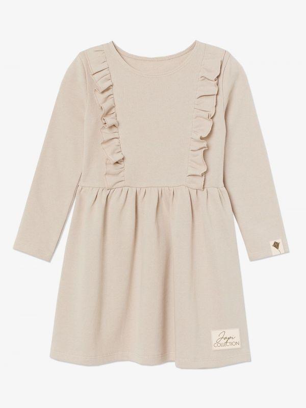 Dievčenské šaty volán ROSE DR béžove