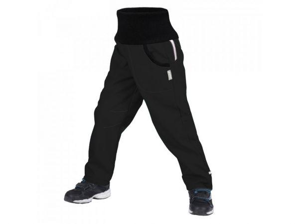 Unuo Detské softshellové nohavice s fleecom Čierne