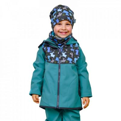 Unuo detská softshellová bunda s fleecom Sv. Smaragdová Psíky