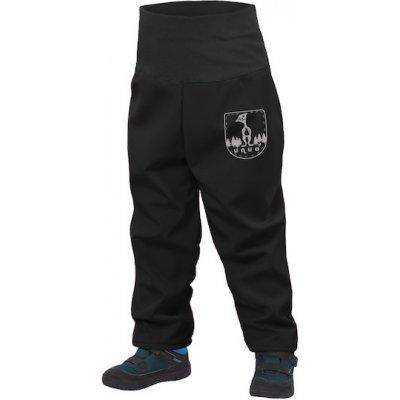 Unuo detské batoľacie softshellové nohavice s fleecom Slim čierne