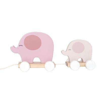 JaBaDaBaDo Hračka na ťahanie slon ružový