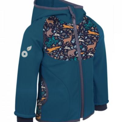 Unuo detská softshellová bunda s fleecom Kobaltová Nočné zvieratka