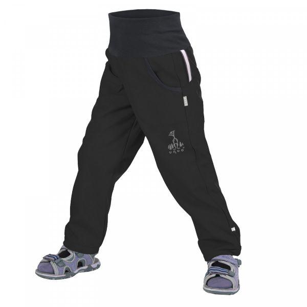 Unuo Detské softshellové nohavice bez zateplenia Čierne