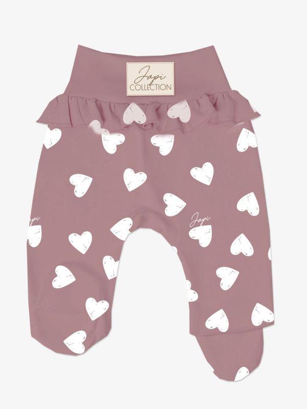 Dojčenské poldupačky JAPI HEARTS ružové