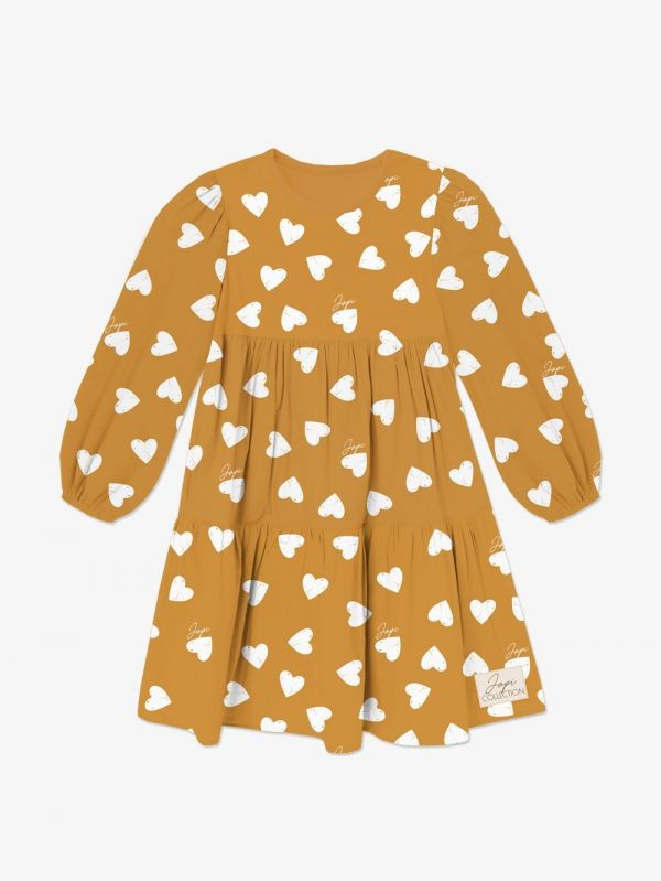 Dievčenské šaty volán JAPI HEARTS DR žlté