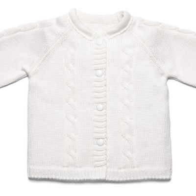 Pletený svetrík Vrkoč biely