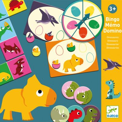 DJECO Tri vzdelávacie hry Dinosaury